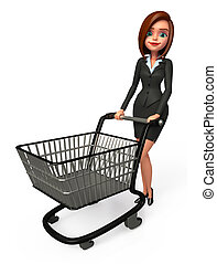 Business man with trolley