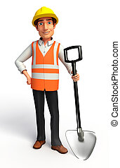 Worker with spade - 3d rendered illustration of Worker with...