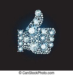 Diamond Like Thumb Up Sign - Like thumb up sign made of...