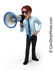 Serviço, homem, alto-falante