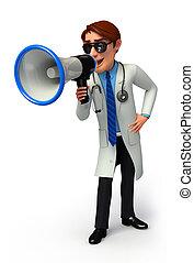 alto-falante, jovem, doutor