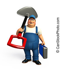 Mechanic with spade - 3d rendered illustration of