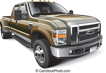 American full-size pickup truck - Detail vector image of...