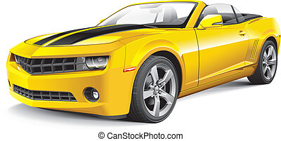American muscle car convertible - Detail vector image of...