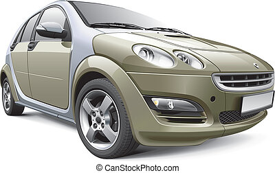European subcompact hatchback - Detail vector image of...