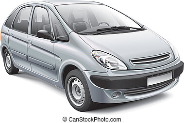 French Compact MPV - Detail vector image of silver French...