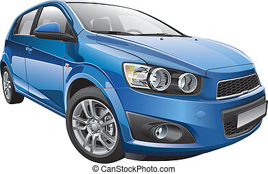 Korean subcompact hatchback - Detail vector image of Korean...