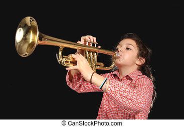 jovem, menina, trompete