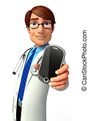 Yound Doctor with mobile - 3d rendered illustration of Yound...