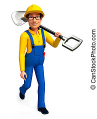 Plumber with spade