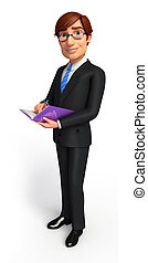 Business man with diary - 3d rendered illustration of...