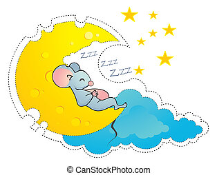 Cheesy moon - Mouse sleeping on moon made of cheese