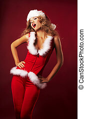 Beautiful sexy girl wearing santa claus clothes - Portrait...