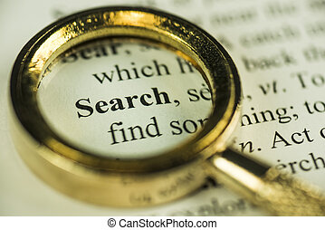 Search And Find Concept With Closeup Golden Magnifying Glass...
