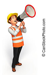 Worker with loudspeaker - 3d rendered illustration of Worker...