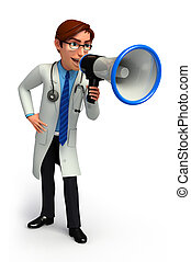 Young Doctor with loudspeaker - 3d rendered illustration of...