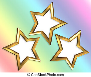 Gold Stars Frames Rainbow Background - Illustration...