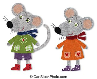 Mice, cartoon characters - Colorful felt and wool quiltting