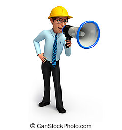 Service man with loudspeaker - 3d rendered illustration of...