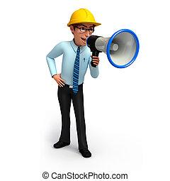 Service man with loudspeaker - 3d rendered illustration of...