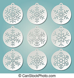 Paper christmas balls with puched snow flakes