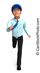 Service man is running - 3d rendered illustration of Service...