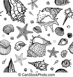 Sea background. Hand drawn vector illustration - Grange Sea...