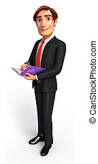 Young Business man with diary - 3d rendered illustration of...
