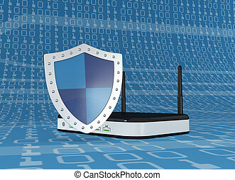 concept of internet safety - one modem router with a shield,...