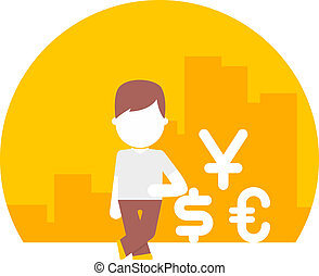 man uses different currencies. dollar, euro and yen