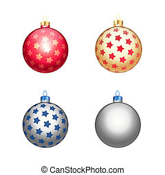 Multicolour christmas balls isolated on white background