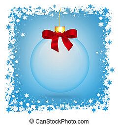 Transparent Christmas ball Ball and snowflakes on blue...