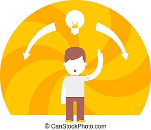 brilliant idea hypnotizes all. flat design concept