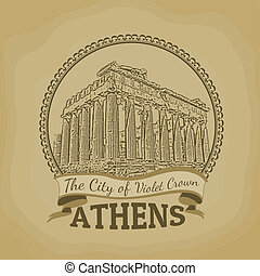 Athens The City of Violet Crown poster - Landscape of Athens...