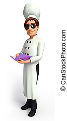 Young chef with Diary - 3d rendered illustration of Young...