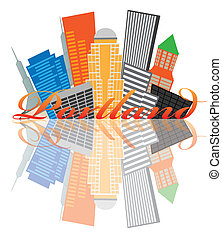 Portland Oregon Abstract Skyline Illustration