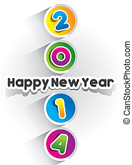 Happy New Year 2014 Card - Colorful Abstract Happy New Year...
