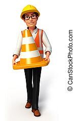 Worker with cone - 3d rendered illustration of Worker with...
