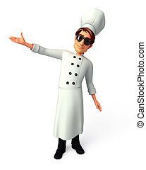 Chef pointing to blank