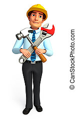 Service man with wrench