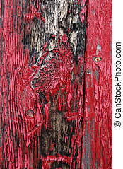 Flaking red paint - Black stains on shed siding board with...