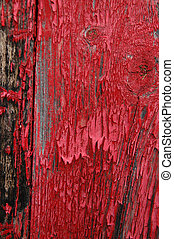 Red flaking paint - Black stains on shed siding board with...