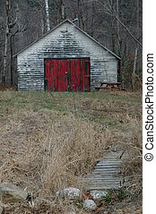 Rustic shed - Rustic old shed with red and white peeling...