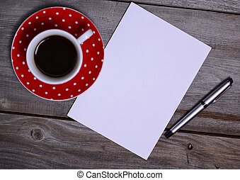 Blank Paper ready for your own text, Pen and Coffee - Blank...