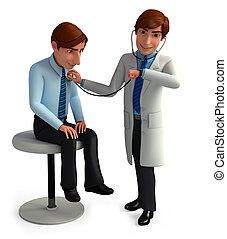Young Doctor analyze patient - 3d rendered illustration of...
