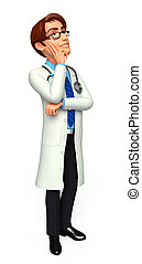Doctor is thinking - 3d rendered illustration of Doctor is...