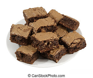 plate of homemade brownies - delicious homemade brownies on...