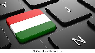 Hungary - Flag on Button of Black Keyboard. - Flag of...