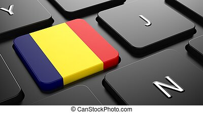 Romania - Flag on Button of Black Keyboard. - Flag of...