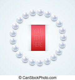 Pearl necklace with red label